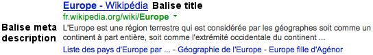 title et meta description page Europe Wikipedia