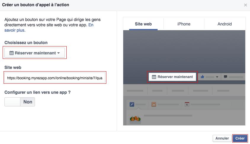 MyRezApp : ajouter bouton reserver maintenant facebook