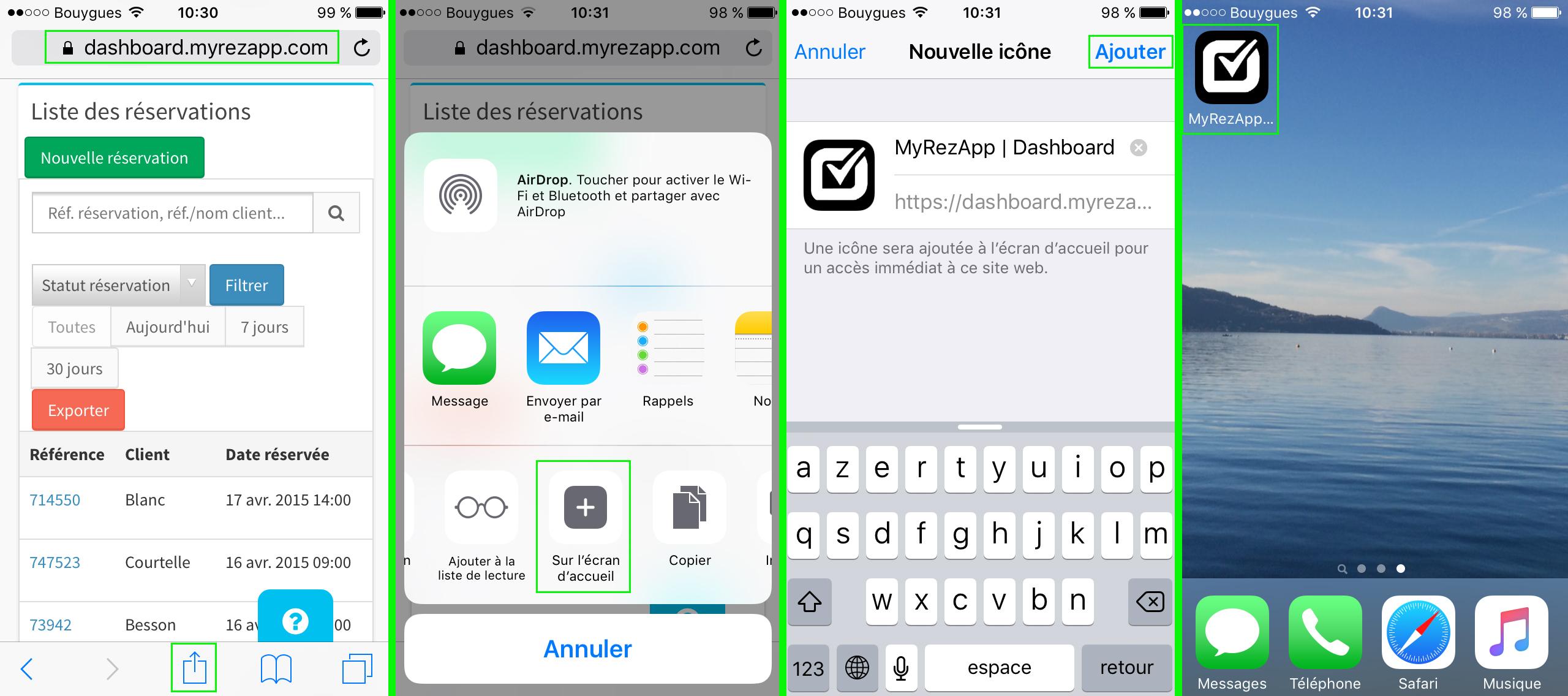 raccourci MyRezApp sur iPhone