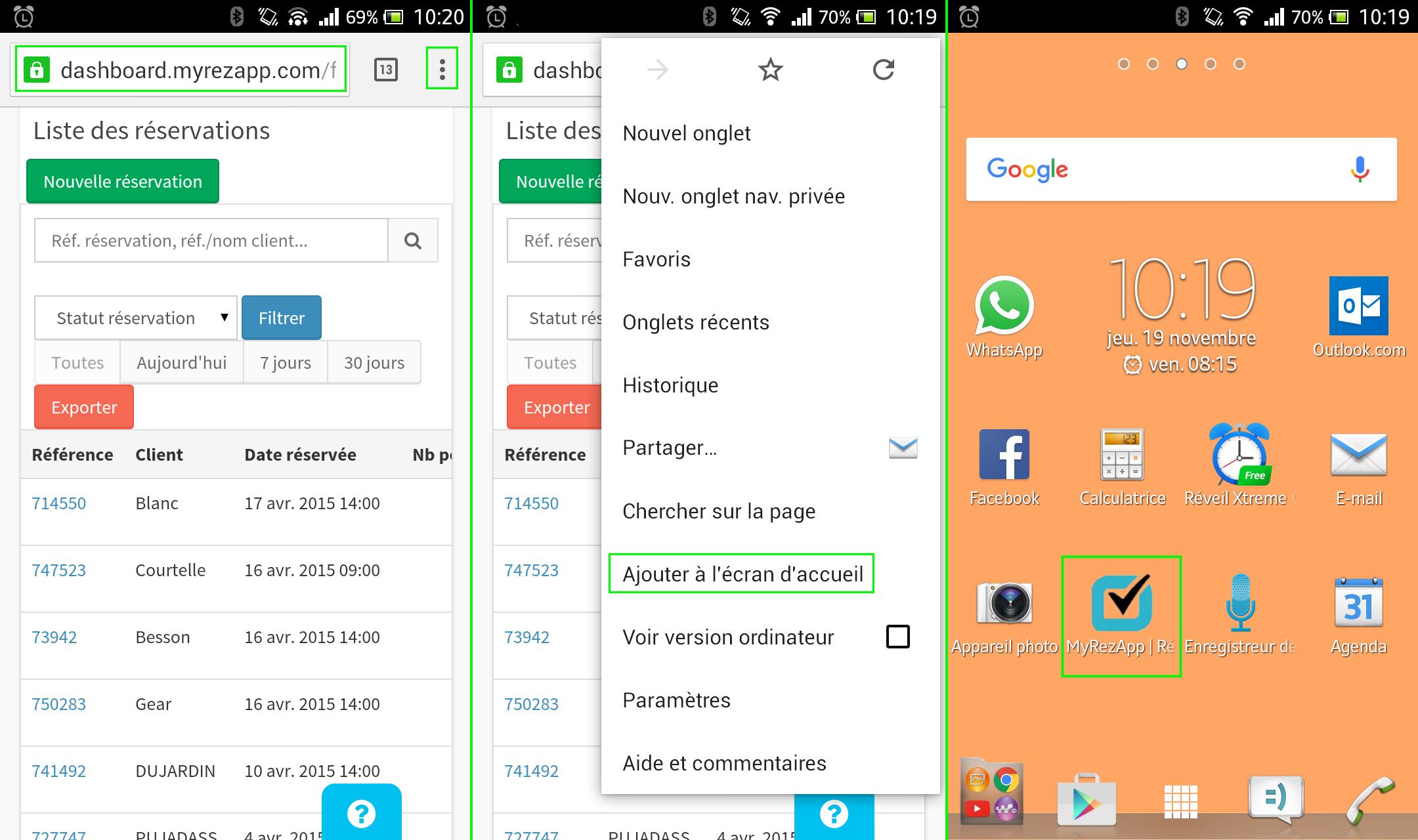 créer raccourci vers MyRezApp sur Android