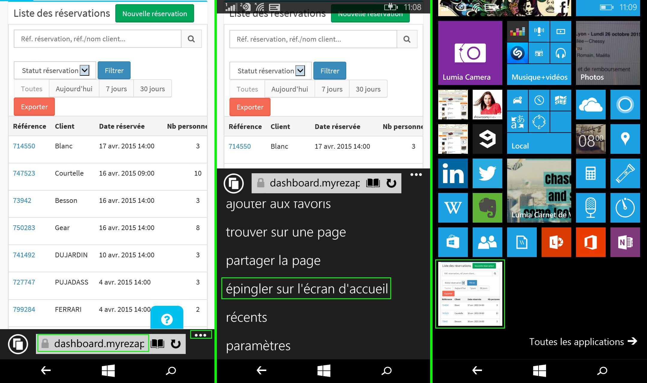 raccourci MyRezApp Windows Phone