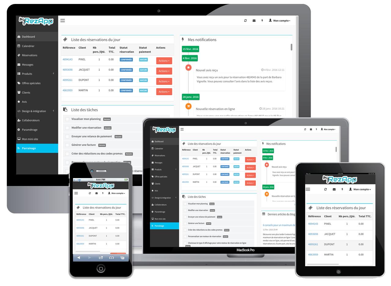 dashboard myrezapp agenda en ligne